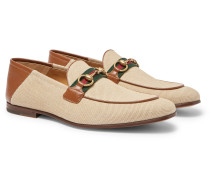 Brixton Webbing-Trimmed Horsebit Collapsible-Heel Canvas and Leather Loafers