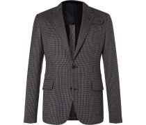 Slim-fit Houndstooth Cotton-blend Tweed Blazer