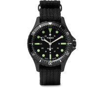 Navi Harbor Stainless Steel And Nylon-webbing Watch - Black