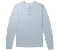 Slub Organic Pima Cotton-jersey Henley T-shirt - Light blue