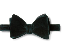Pre-tied Cotton-velvet Bow Tie - Dark green
