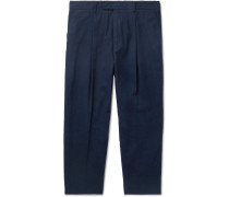 Tapered Cropped Cotton-twill Trousers