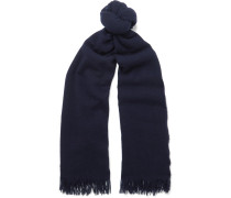 Ansel Fringed Wool And Cashmere-blend Scarf - Blue