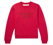 Printed Loopback Cotton-jersey Sweatshirt - Red