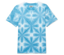 Washed Tie-dyed Cotton-jersey T-shirt - Blue