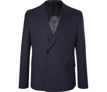Navy Double-breasted Pinstriped Wool Blazer