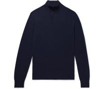 Slim-fit Nubuck-trimmed Cashmere Half-zip Sweater