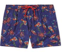 Mid-length Printed Shell Swim Shorts - Blue