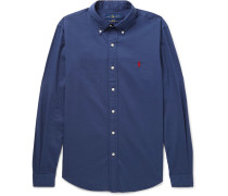 Slim-fit Button-down Collar Garment-dyed Cotton-twill Shirt - Indigo