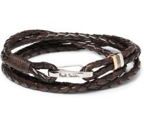 Woven Leather Wrap Bracelet - Brown