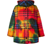 Oversized Checked Cotton Down Jacket - Red