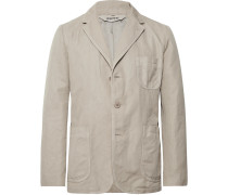 Stone Slim-fit Unstructured Linen Blazer - Ecru