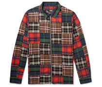 Patchwork Brushed Cotton-flannel Zip-up Overshirt - Multi