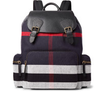 Pebble-grain Leather And Checked Canvas Backpack