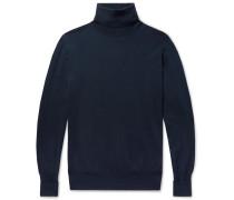 Merino Wool Rollneck Sweater - Navy