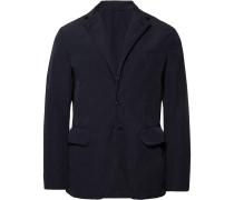 Navy Slim-fit Garment-dyed Shell Blazer - Navy
