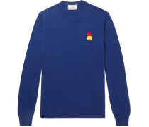 + The Smiley Company Slim-fit Appliquéd Merino Wool Sweater
