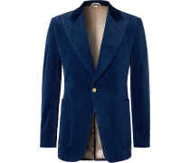 Slim-Fit Cotton-Blend Velvet Blazer