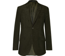 Dark-Green Slim-Fit Cotton-Corduroy Suit Jacket