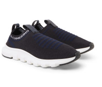 Leather And Techmerino Wool-mesh Slip-on Sneakers - Navy