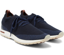 360 Flexy Walk Leather-trimmed Knitted Wool Sneakers - Navy