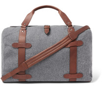Leather-Trimmed Wool Holdall