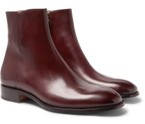 Burnished-leather Boots - Burgundy