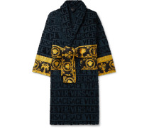 Printed Satin-Trimmed Logo-Jacquard Cotton-Terry Robe