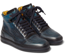 Leather High-top Sneakers - Indigo