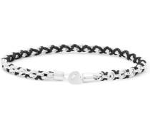 Nexus Rhodium-Plated and Cord Bracelet