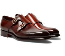 Burnished-leather Monk-strap Shoes
