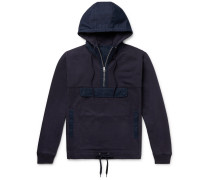 Canvas-Trimmed Fleece-Back Cotton-Blend Jersey Zip-Up Hoodie