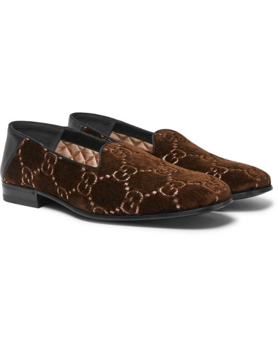 Gallipoli Collapsible-heel Leather-trimmed Embroidered Velvet Loafers - Brown
