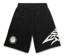 Glow-in-the-Dark Logo-Print Loopback Cotton-Jersey Shorts
