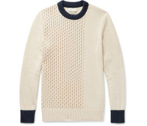 Blenheim Slim-Fit Contrast-Tipped Textured Organic Cotton Sweater