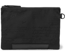 Scritto Leather-Trimmed Nylon Zip-Around Pouch