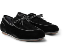 Trinity Embroidered Leather-trimmed Velvet Loafers - Black