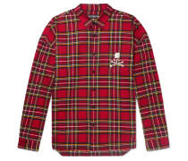 Oversized Zip-Detailed Logo-Embroidered Checked Cotton-Flannel Shirt
