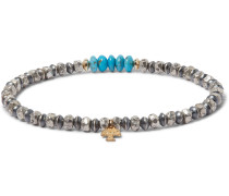 Turquoise, Sterling Silver and 14-Karat Gold-Filled Bracelet