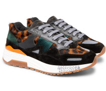 Achilles Panelled Leopard-print Calf Hair Sneakers - Multi