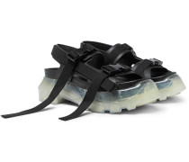 Tractor Webbing-trimmed Leather Sandals - Black