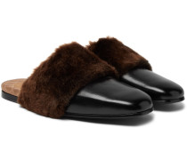 Lawrence Leather And Faux Fur Backless Loafers