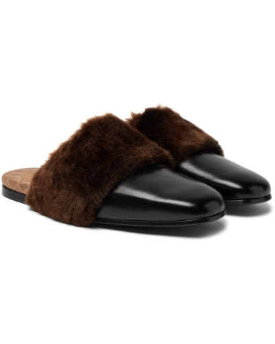 Lawrence Leather And Faux Fur Backless Loafers - Black