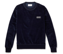 Logo-appliquéd Cotton-blend Velour Sweatshirt - Navy