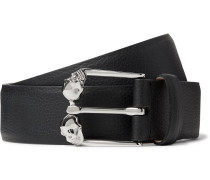 3cm Black Textured-leather Belt - Black