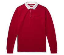 Contrast-trimmed Wool-felt Polo Shirt - Red