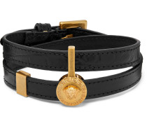 Croc-effect Leather And Gold-tone Wrap Bracelet - Black