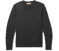 Check-panelled Merino Wool Sweater - Charcoal