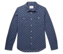 Embroidered Cotton-chambray Shirt - Dark denim