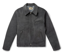 Slim-fit Suede Jacket - Charcoal